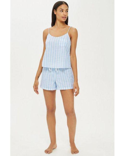 TOPSHOP - Blue Textured Stripe Shorts - Lyst