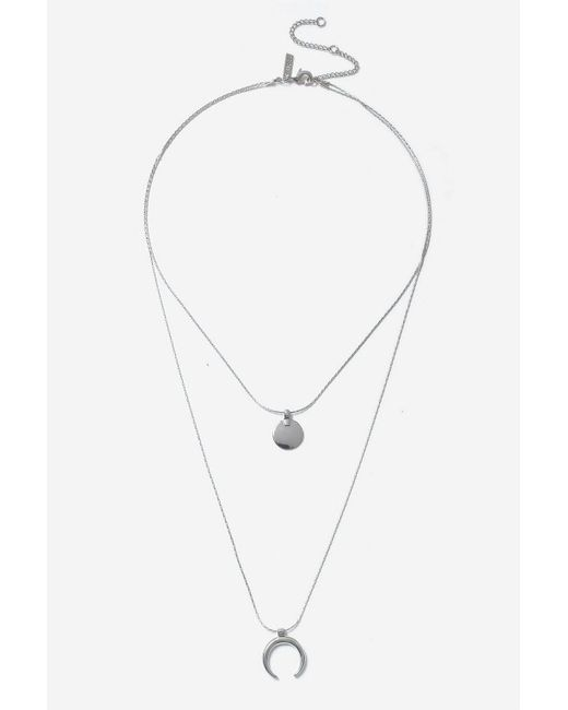 TOPSHOP - Metallic Silver Disc And Curve Necklace - Lyst