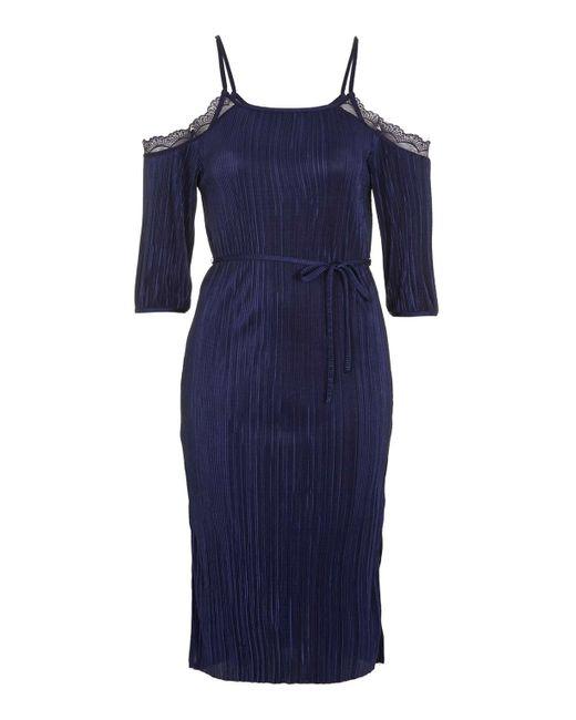 TOPSHOP | Blue Plisse Lace Cold Shoulder Dress | Lyst