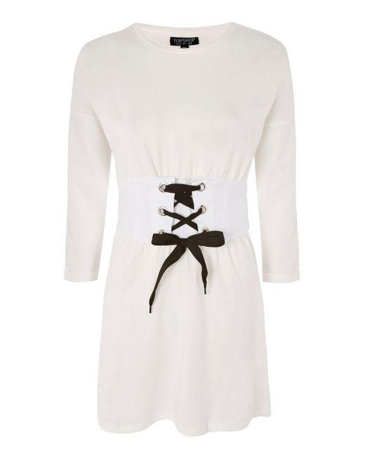 TOPSHOP | Natural Corset T-shirt Dress | Lyst