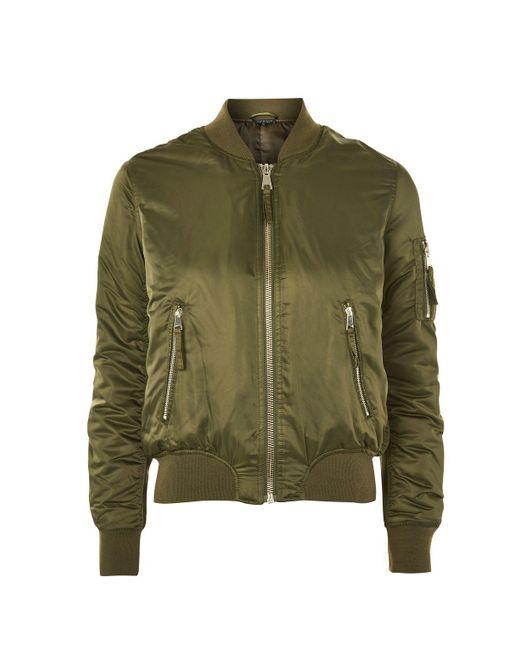 TOPSHOP | Green Bomber Jacket | Lyst
