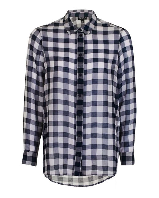 Topshop gingham print shirt in blue navy blue lyst for Navy blue gingham shirt