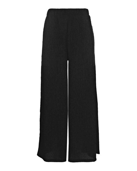 TOPSHOP   Black Textured Wide Leg Trousers   Lyst