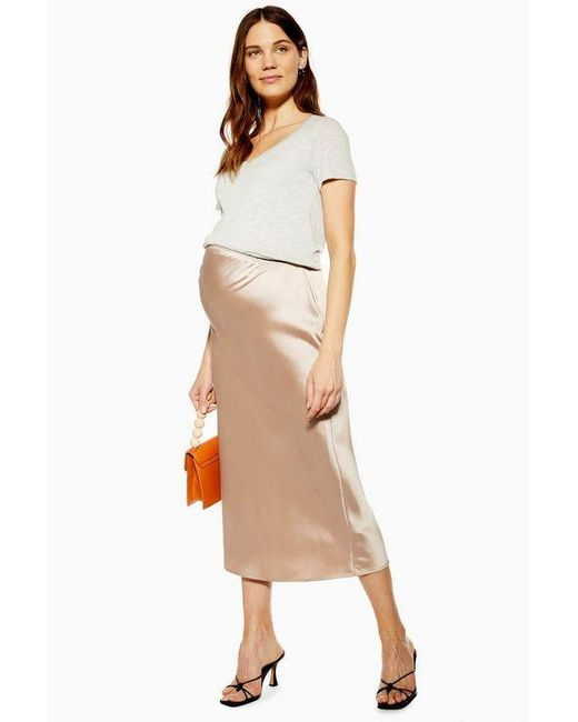 hot-selling professional on sale running shoes TOPSHOP maternity Satin Bias Midi Skirt in Natural - Lyst