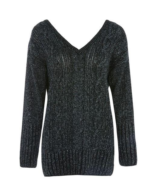 TOPSHOP | Gray V-neck Cable Knit Jumper | Lyst