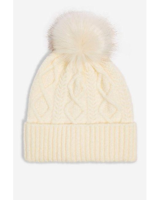 ... TOPSHOP - Natural Cable Beanie Fur Pom Pom Beanie - Lyst 3124518cb3af