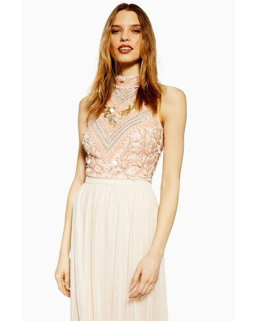 e44d70a01e7893 LACE & BEADS embellished Top By in Natural - Lyst