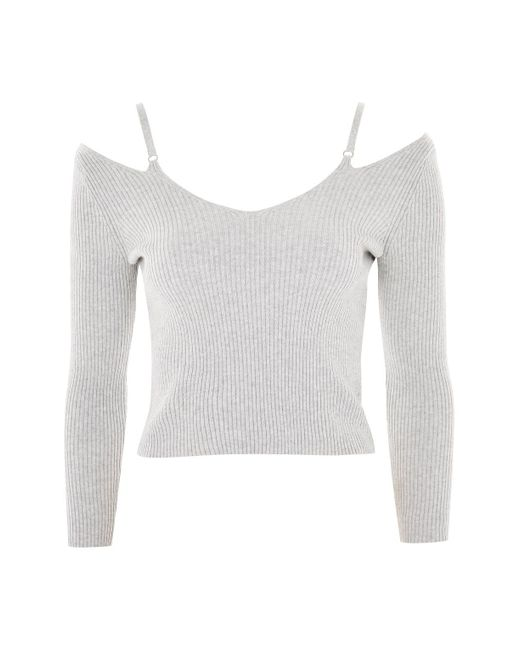 TOPSHOP | Gray Knitted Strap Detail Top | Lyst