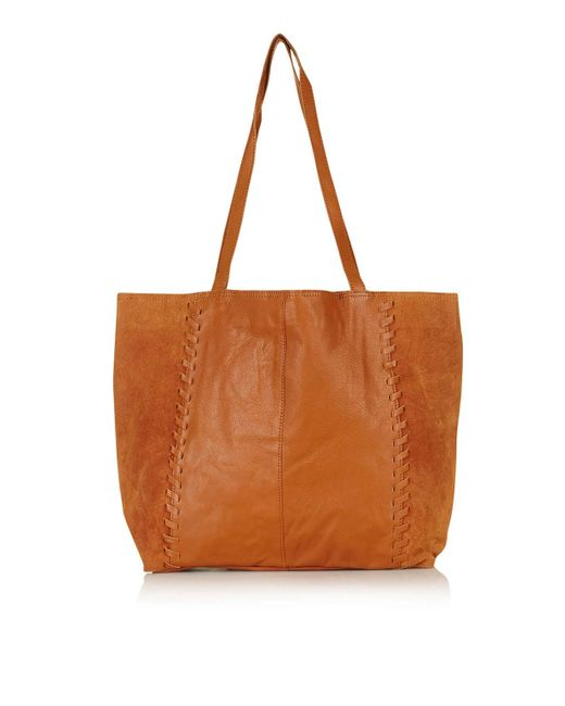 TOPSHOP | Brown Whip Stitch Shopper Bag | Lyst