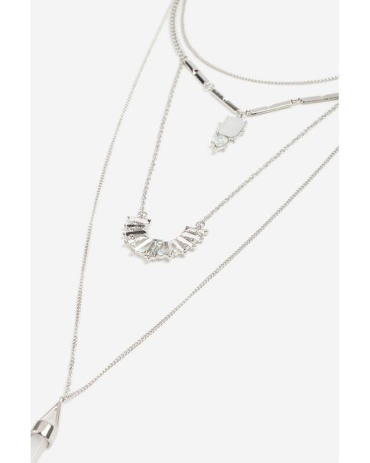 TOPSHOP - Metallic Shard Multi-row Necklace - Lyst
