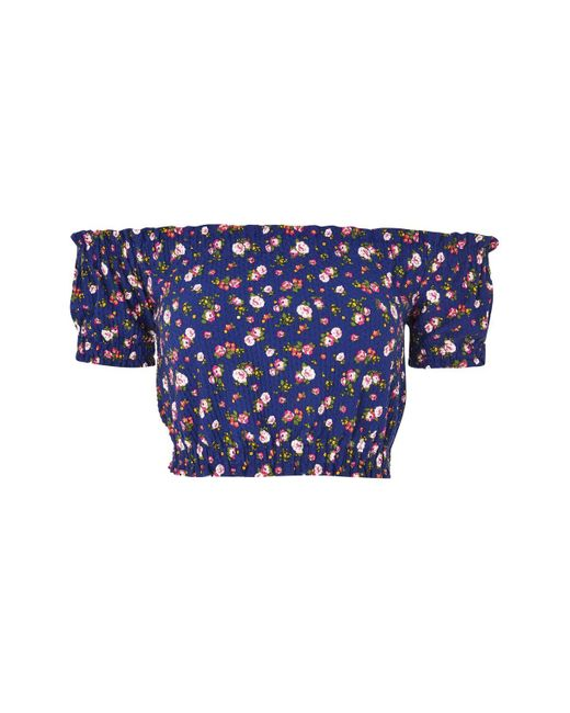 TOPSHOP | Blue Petite Floral Print Bardot Crop Top | Lyst
