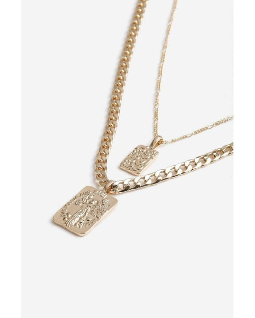 TOPSHOP - Metallic Two Row Chain Tag Necklace - Lyst