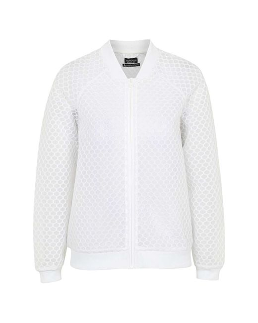 Ivy Park Hexagon Mesh Bomber Jacket By In White Lyst