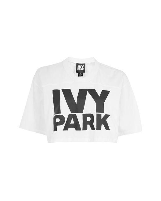 Ivy Park | White Logo Crop V Tee By Ivy Park | Lyst