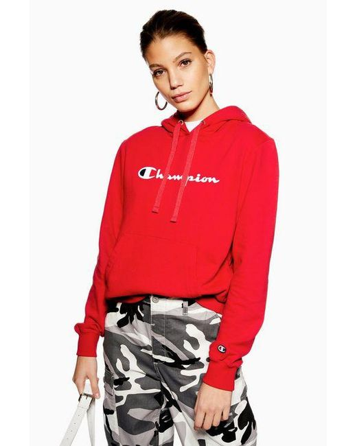 4e2077cb586 Champion - Red Script Logo Hoodie By - Lyst ...