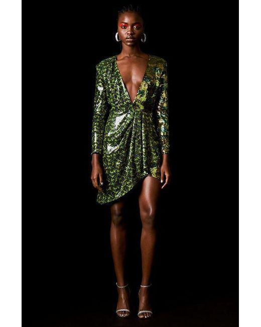 TOPSHOP - Green Sequin Dress By X Halpern - Lyst