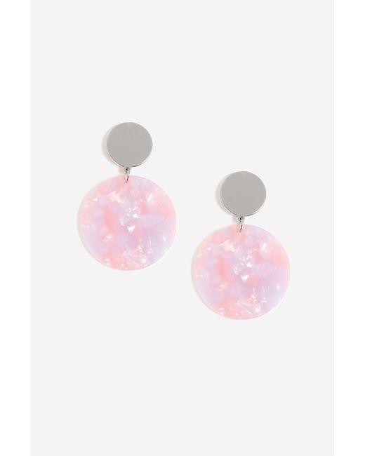 TOPSHOP - Pink stud Resin Drop Earrings - Lyst