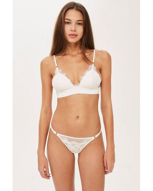 8e382b2033 TOPSHOP - White Lace Padded Triangle Bra - Lyst ...