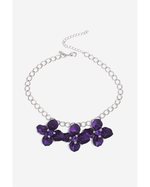 TOPSHOP | Purple Flower Collar Necklace | Lyst