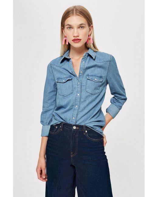 8d4882d5fe1 TOPSHOP - Blue Western Denim Shirt - Lyst ...