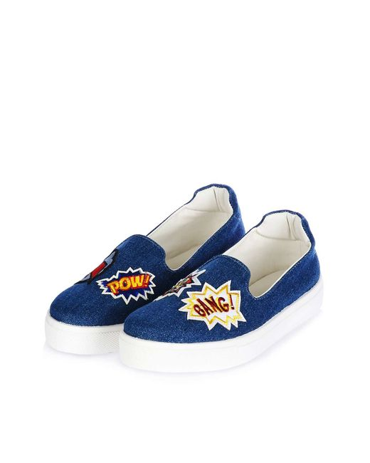 topshop temp patches slip on shoes in blue denim lyst