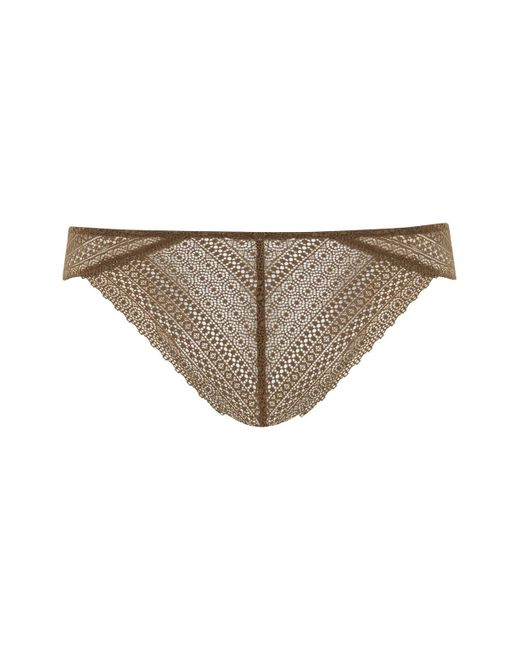 TOPSHOP | Natural Crochet Lace Brazilian Knickers | Lyst