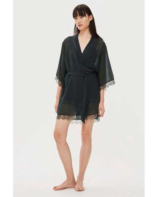 TOPSHOP - Black Delicate Lace Robe - Lyst