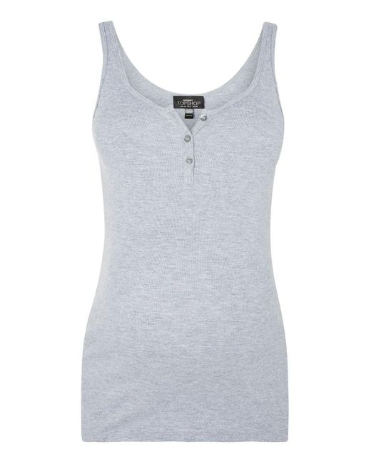 TOPSHOP   Gray Maternity Button Front Vest Top   Lyst