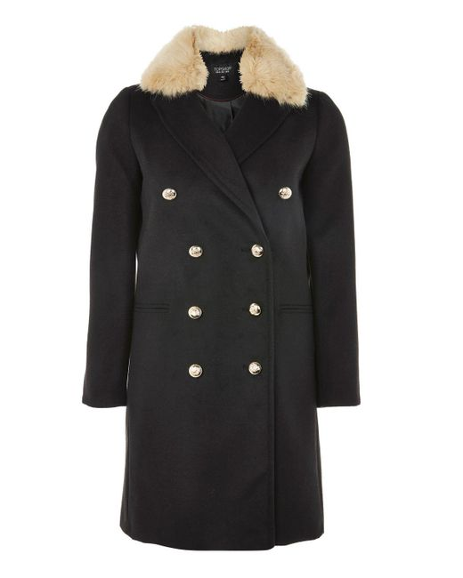 TOPSHOP | Black Faux Fur Collar Duster Coat | Lyst