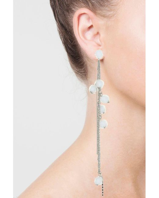 TOPSHOP | White Pom And Chain Drop Earrings | Lyst