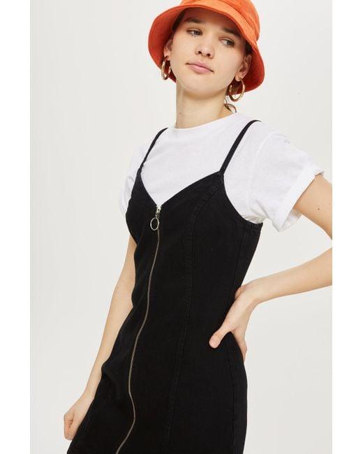 TOPSHOP - Black Zip Through Denim Dress - Lyst
