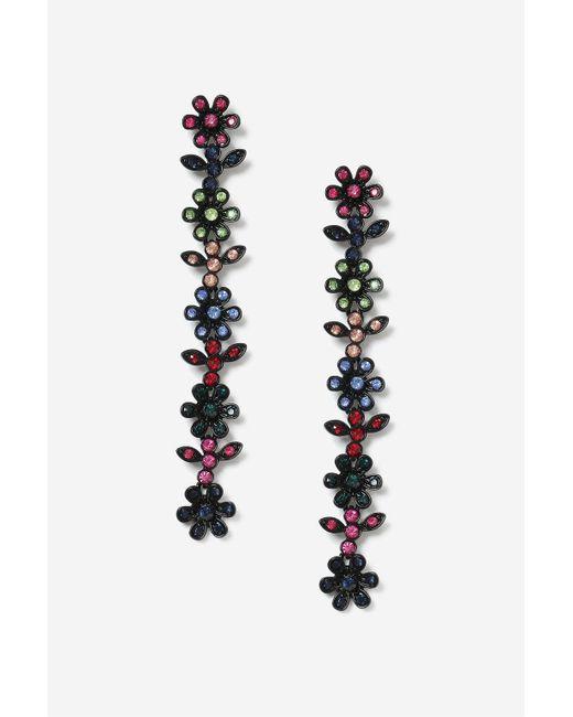 TOPSHOP   Black Floral Stone Drop Earrings   Lyst
