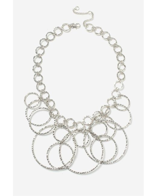 TOPSHOP | Metallic Circle Link Hammered Metal Necklace | Lyst