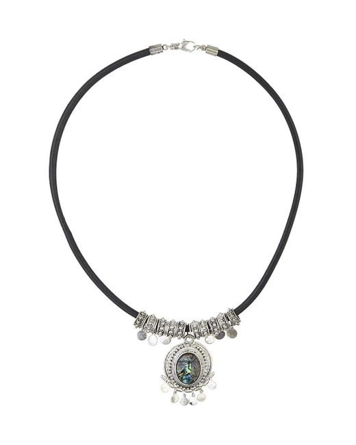 TOPSHOP | Green Abalone Stone Necklace | Lyst