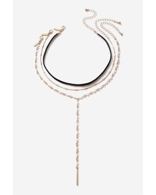 TOPSHOP | Black Cross Velvet Multi-row Necklace | Lyst