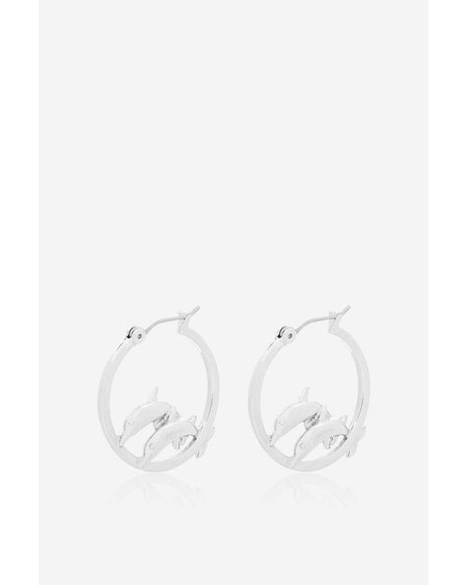 TOPSHOP | Metallic Silver Dolphin Hoop Earrings By Skinnydip | Lyst