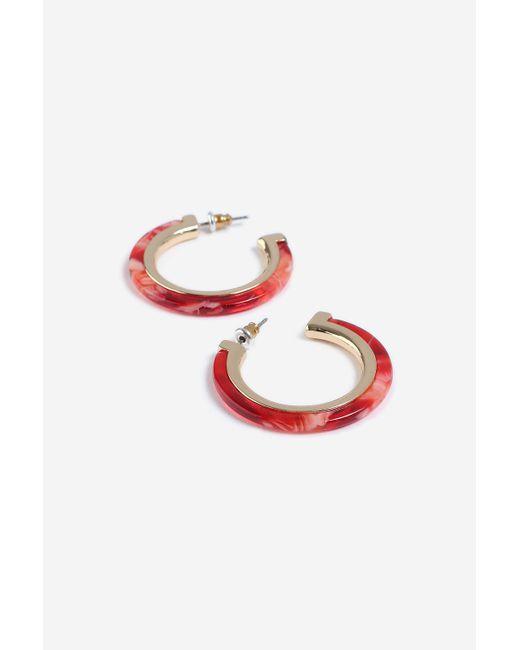 TOPSHOP - Red Resin Inlay Hoop Earrings - Lyst
