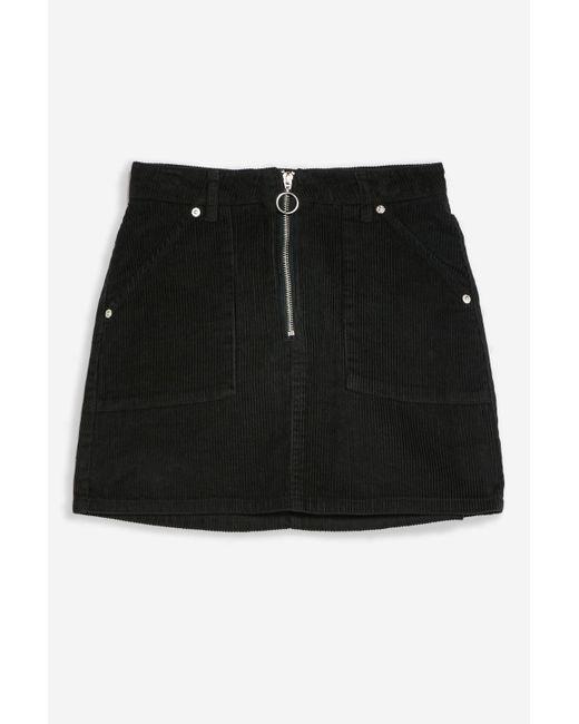 761b839658 ... TOPSHOP - Black Petite Corduroy Zip Skirt - Lyst ...
