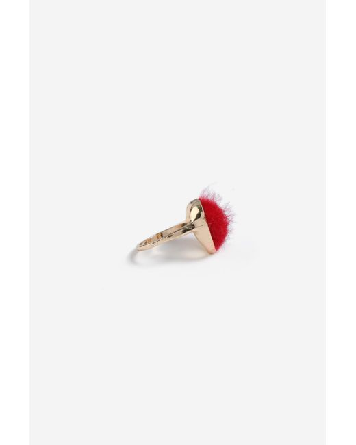 TOPSHOP - Red fluffy Heart Ring - Lyst