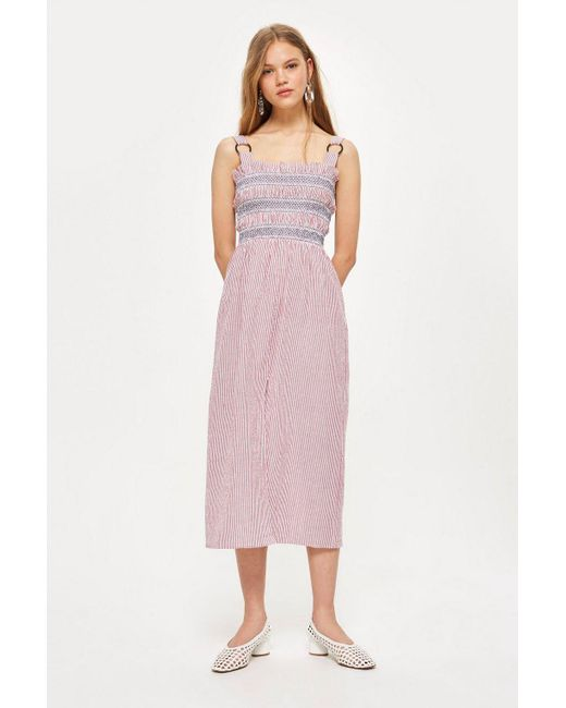 TOPSHOP - Red Petite Seersucker Stripe Midi Dress - Lyst
