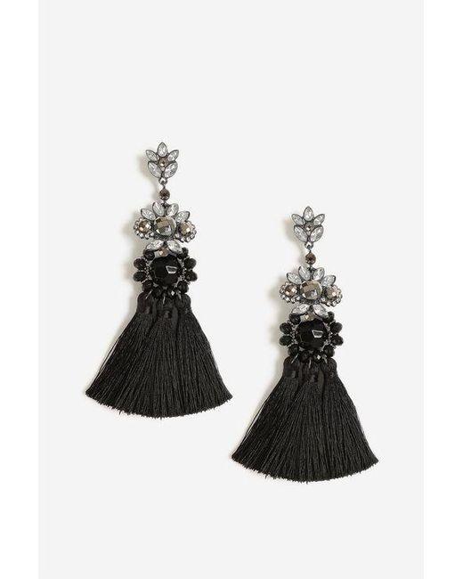 TOPSHOP - Black Rhinestone Tassel Drop Earrings - Lyst