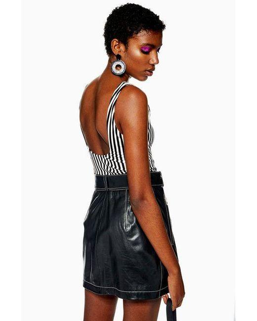 1cf42521728 TOPSHOP - Black Stripe Scoop Bodysuit - Lyst ...
