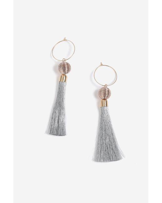 TOPSHOP - Metallic Hoop And Tassel Drop Earrings - Lyst