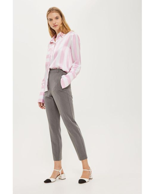 TOPSHOP - Gray High Waisted Cigarette Trousers - Lyst