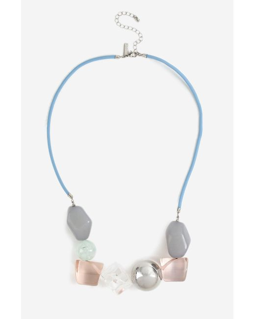 TOPSHOP - Blue Resin Bead Necklace - Lyst