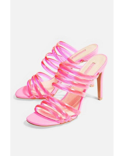 TOPSHOP - Pink Rizzo Mules - Lyst