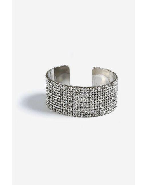 TOPSHOP - Metallic silver Rhinestone Cuff - Lyst