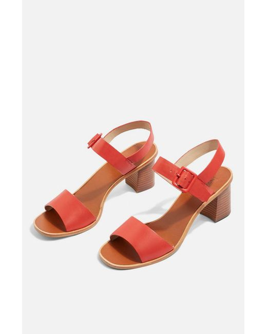 TOPSHOP - Red Nancy Two Part Sandals - Lyst