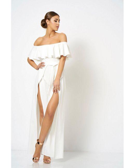 4caccb0fa8a Club L White Bardot Asymmetric Maxi Dress By in White - Lyst