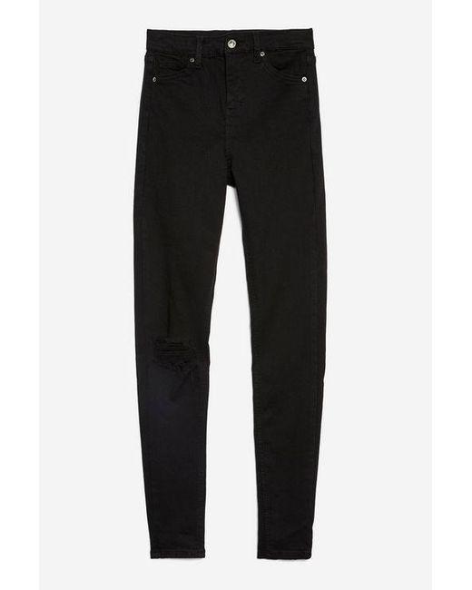 f5f286dbdb TOPSHOP Black 1 Knee Ripped Jamie Jeans in Black - Lyst